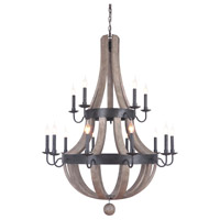 Mariana 701586 Lancelot 15 Light 42 inch Textured Black/Wood Chandelier Ceiling Light